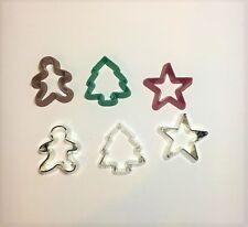 6 Cortadores De Galleta - 3-Metal 3 miniaturas de plástico de color Cocinar Hornear Mini