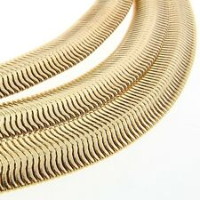 6 mm 30 inch 14k Gold Finish Flexible Herringbone Men's Chain Fashion Necklace