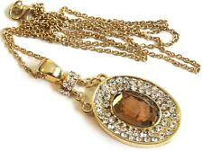 Vintage 1980s Goldtone Cognac Glass CAMEO & Rhinestone Pendant Chain NECKLACE