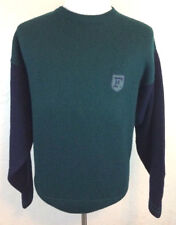 #S1 Faconnable XL 100% Wool Green Blue Crewneck Sweater Designed In France Logo