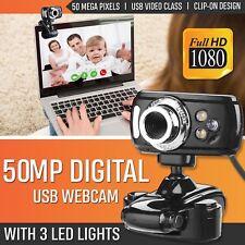 Caméra Webcam USB HD 50.0MP 3 LED avec micro et vision nocturne pour PC bleu FR