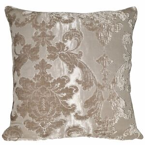 vb01a Light Taupe Flower On Khaki Thick Cotton Blend Cushion Cover/Pillow Case