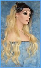 LACE FRONT SYNTHETIC HUMAN HAIR  BLEND WAVY BLOND WIG DR613 USA SELLER 1336