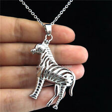 K116 Silver Pearl Cage Animal Zebra Magnetic Locket Necklace Steel Chain 18inch