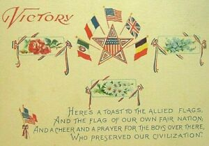 Antique Postcard WWI World War I VICTORY Allied Flags Pentagon Star Unposted