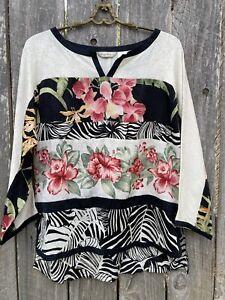 Tommy Bahama Tunic Women's Sz M Silk Top Tropical Elegant Floral ⭐️9377