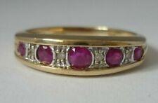 Stunning Vintage Ruby & Diamond 9k Gold Ring Size L 1/2