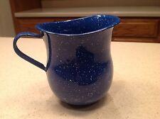 "Vintage Enamelware/ Graniteware Deep Blue and White Speckled 5"" Pitcher NICE!!!!"