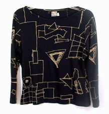 Pullover Top Bets By Canvasbacks Black With Gold Geometric Print Size M