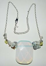 """1.7"""" SEA OPAL Pendant Necklace 925 Sterling Silver Pearl Gems"""