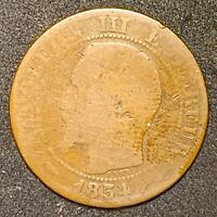 1854 BB France or French 5 Centimes Napoleon III Bronze Coin Y#16  (923)