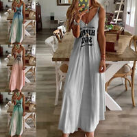Women Loose Baggy Maxi Dress Ladies Summer Beach Sleeveless Letter Long Dress