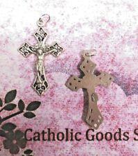 1.5 inch Silver Tone Oxidized Fancy Italian Crucifix (with O Ring)