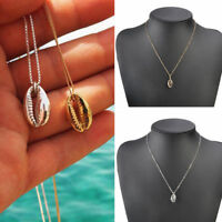Simple Gold/Silver Cowrie Shell Charm Choker Necklace Chain Statement Jewelry