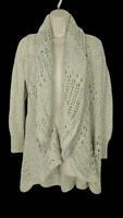 Cache Cardigan Sweater Size XS Oatmeal Draped Crocheted Open Front