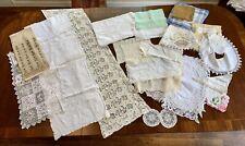 38pcs Lot Genuine Vtg Linens Lace Placemats/Hankies/Napkins/Doilies/Table Runner