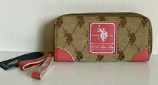 NEW! USPA U.S. US POLO ASSOCIATION CHINO CORAL DOUBLE ZIP AROUND WALLET $34 SALE