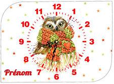 horloge pendule murale chouette mignon personnalisé prénom au choix réf 64