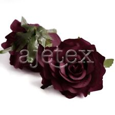 5pcs Rose Artificial Flower Heads Bride Bouquet Decor 10cm Wine Red FBHS19-3