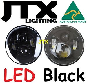 "JTX 7"" LED Headlights Black without Halo Austin Healey Sprite A30 Bugeye Frogeye"