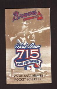Hank Aaron--Atlanta Braves--1999 Pocket Schedule--Turner Field