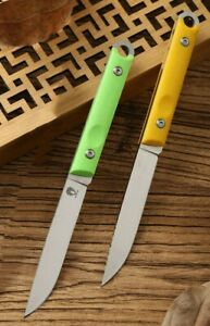 """Japan Solo 7"""" Fishing Fixed Knife VG-10 Blade G10 Handle with Leather Scabbard"""