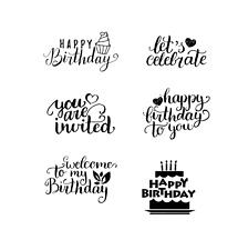 happy Birthday decal set of 6 wine glass candle celebrate