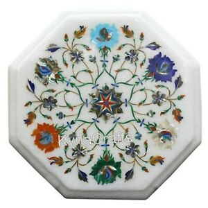 """Octagon Marble Coffee Table Top Floral Pattern Corner Table for Home Decor 12"""""""