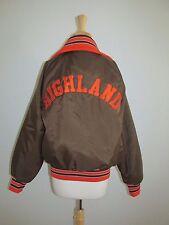 Vtg 80's Mens/Womens Size M Highland Brown Nylon Retro Baseball Varsity Jacket