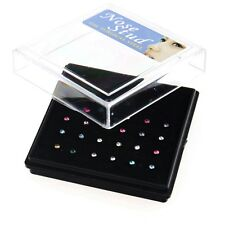 24Pcs Percing Nez Pneu Diamant Coloré Nose Ring Anneau Mode 7x1MM Cadeau Bijoux