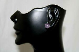 Vintage 14K Gold Lavender Jade 8mm Stud Earrings