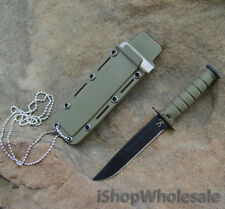 "6"" SURVIVAL Tactical Fixed Blade HUNTING KNIFE w/ Neck Chain Green SV02"