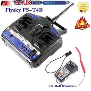 Flysky FS-T4B Transmitter 2.4G 4CH Radio Control &Receiver For RC Drone UK STOCK