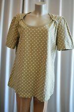 Ulla Popken Shirt Tunika Gr. 46/48 Oliv Polka Dots Kurzarm TOP *B497