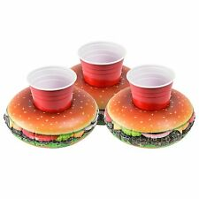 3 x GoFloats Cheeseburger Drink Holders - Float your drinks in style