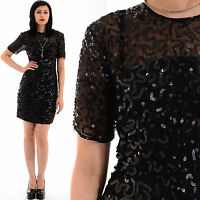 Vtg 80s Blk Silk SEQUIN Beaded Trophy SHEER Deco Cocktail Flapper LBD Mini Dress