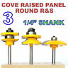 "3 pc 1/4"" SH Cove Raised Panel and Round Rail & Stile Router Bit Set S"