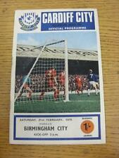 21/02/1970 Cardiff City v Birmingham City  (Score Noted). Item in very good cond