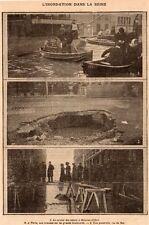 PARIS INONDATION DE LA SEINE RUE DU BAC MAISONS ALFORT FLOOD IMAGE 1910 PRINT