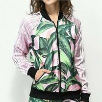 Adidas X Farm Track Jacket XS Pink Green Palm Leaf Print Zip Up Women's Stripe