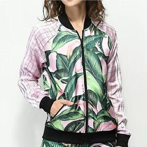 Adidas X Farm Track Jacket XS Pink Green Palm Leaf Print Zip Up Women's Stripe