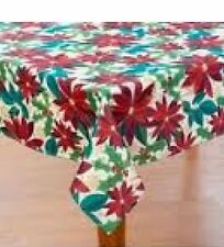 Newbridge Poinsettia Holiday at Home 60 x 64 Oblong Fabric Tablecloth Christmas
