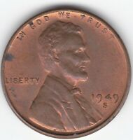 1949-S S/S Lincoln Wheat Cent Penny Mint ERROR Red