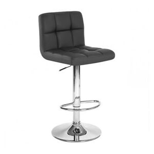 """LEATHER"" BAR STOOL ADJUSTABLE - ADJUSTING  BARSTOOL CHAIR-BORIS BLACK-SET OF 2"