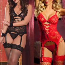 Lady Sexy Lingerie Lace Babydoll G-String Thong Underwear Sleepwear + Stocking