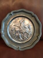 """Vintage St Georges Slaying the Dragon 9"""" Pewter Plate ges.gesch symbol on back"""