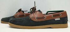 DECKSHU mens navy brown leather boat deck shoes Size UK 6 EU 40
