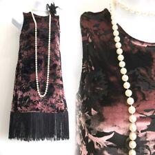 TOPSHOP Black Velvet Tassel Fringe 20's Charleston Flapper Party Mini Dress 8 36