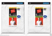 10 Hanes BIG MEN'S White V-Neck T-Shirt Undershirt Value Pack - Size 2XL-3XL