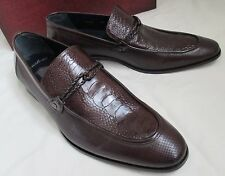Mezlan Men Fashion Size 8.5 M Brown Moc Toe Ostrich Leather Dress Shoes Loafers